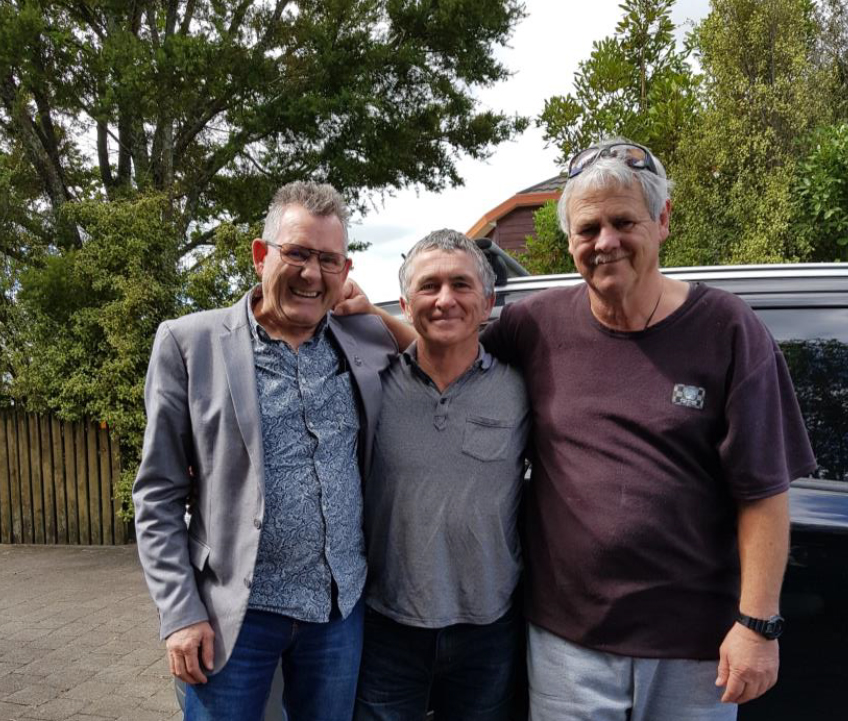 The 'founding fathers' of Male Support Services Waikato (MSSW) – from left: Ken Clearwater, Dave Passell – Manager of Better Blokes Auckland, and 'local hero' Mike Holloway – Manager of MSSW